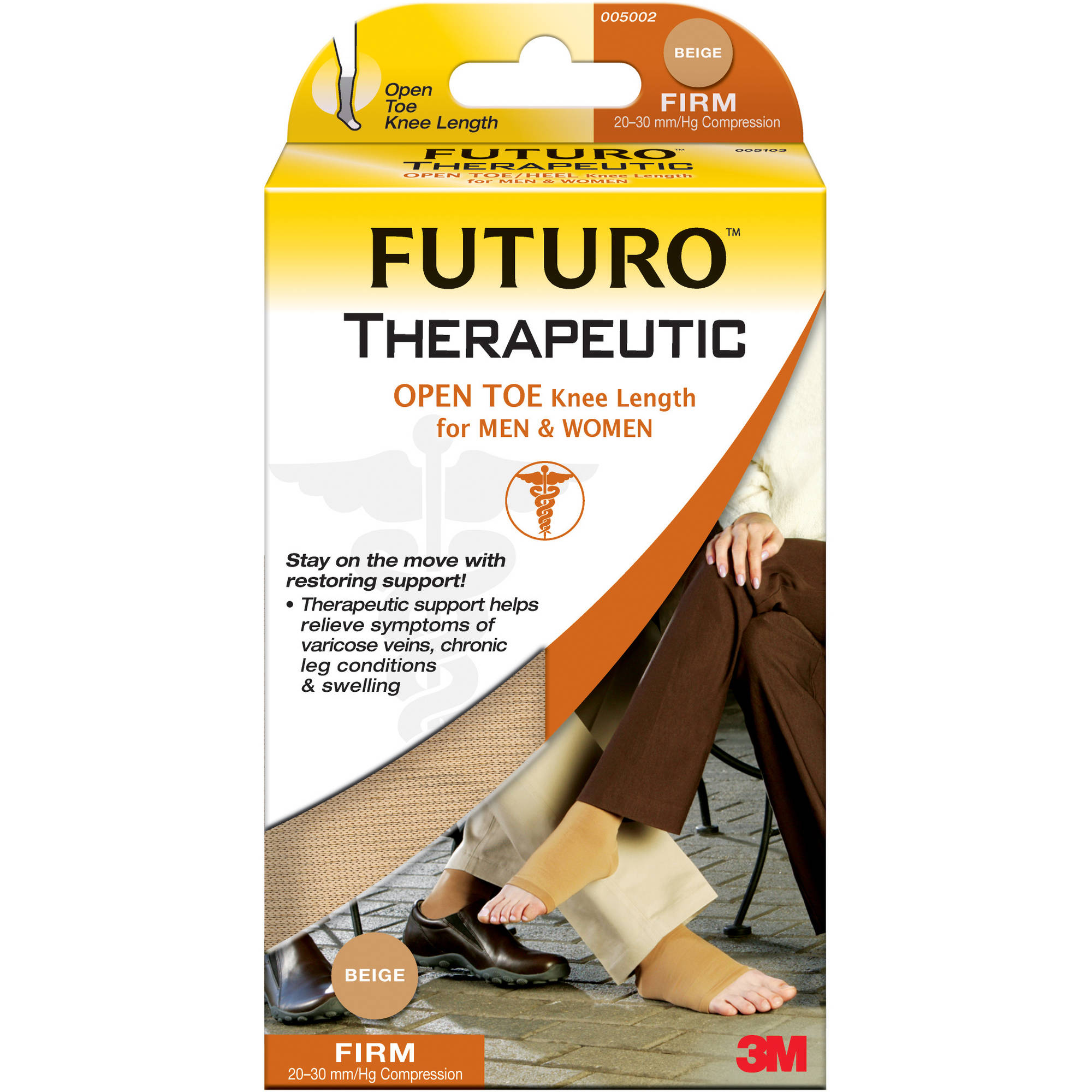 FUTURO Open Toe Knee Length for Men and Women, Medium Beige
