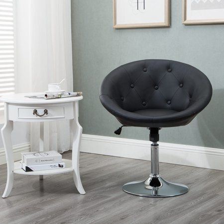 Stupendous Windaze Round Tufted Swiviel Chair Luxury Leather Contemporary Back Adjustable Tilt Lounge Accent Chair Black Forskolin Free Trial Chair Design Images Forskolin Free Trialorg