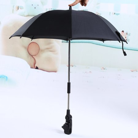 Baby strollers Umbrella, Wheelchair Pushchair Baby Stroller Umbrella Stand Holder 360 Degrees Adjustable Parasol UV Rays Rain Sun Canopy (Black)](Black Parasol)