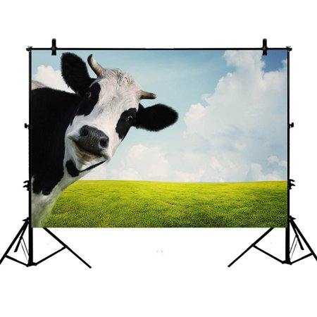 GCKG 7x5ft Milk Cow Pasture Meadow Grassland Polyester Photography Backdrop Studio Photo Props Background