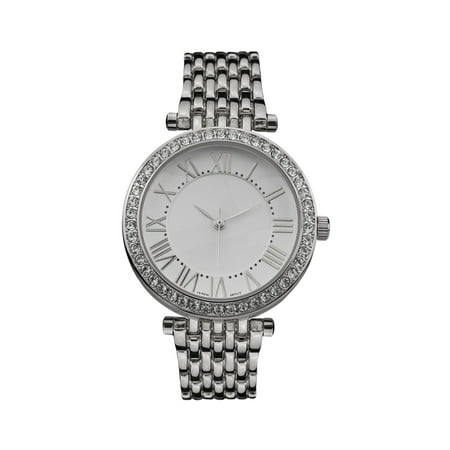 Womens Roman Numeral Dial Watch Silver Tone Lab Created Cubic Zirconia Bezel Luxury Style New