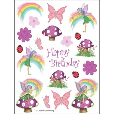 """Club Pack of 48 Fancy Fairy Pastel Rainbow and Butterfly """"Happy Birthday"""" Party Decorative Value Sticker Sheets"""