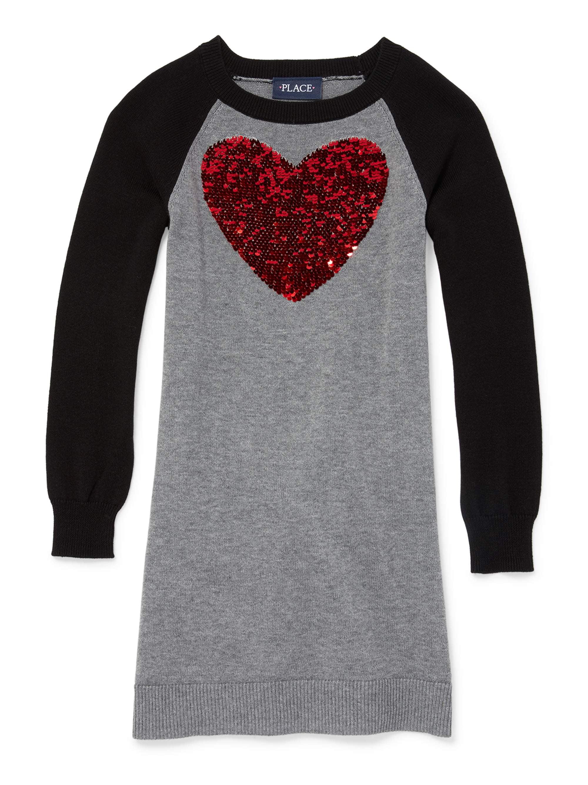 Valentine's Day Heart Sweater Dress (Little Girls & Big Girls)