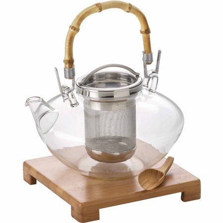 BonJour(r) Tea Handblown Glass â Zenâ Teapot with Stainless Steel Infuser and Bamboo Trivet, 42-Ounce