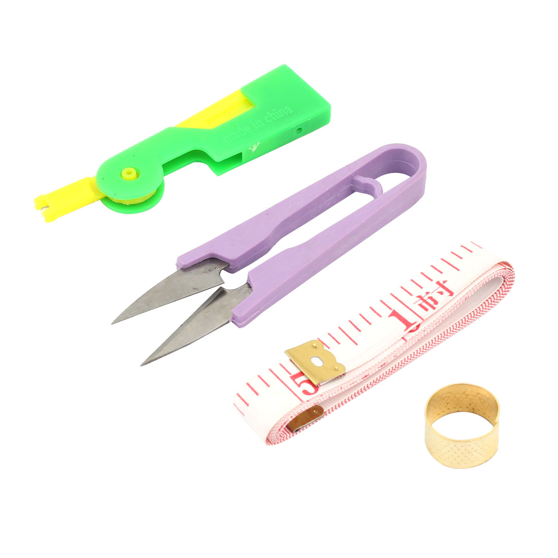 Ring Thimble Needle Threader Yarn Spring Scissors Sewing Tape Measure 4 in 1