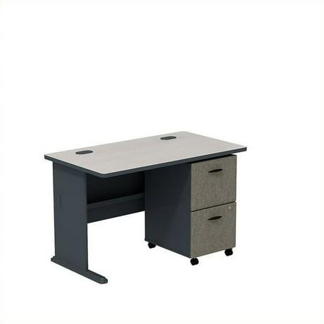 bush business series a 48 desk with assembled pedestal in slate. Black Bedroom Furniture Sets. Home Design Ideas