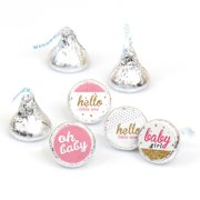Hello Little One - Pink and Gold - Girl Shower Round Candy Stickers - Labels Fit Hershey's Kisses (1 sheet of 108)