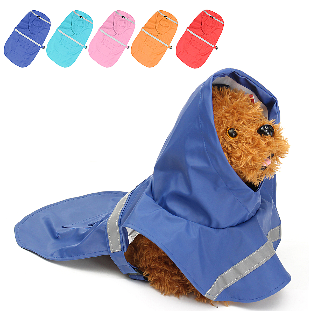 XS Waterproof Dog Raincoat Pet Clothes Hoodie Jacket Poncho Outdoor with Reflective Strip For Dog