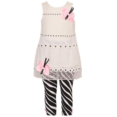 Rare Editions Toddler Drop (Rare Editions Little Girls White Pink Butterfly Accent 2 Pc Legging Set )