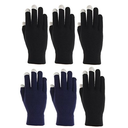 6 Pairs,Womens Touch Screen Winter Gloves, Texting Gloves (4 Black 2 Navy)