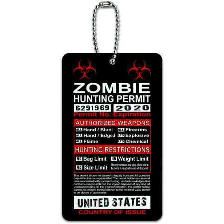 United States Zombie Hunting License Permit ID Tag Luggage Card for Suitcase or