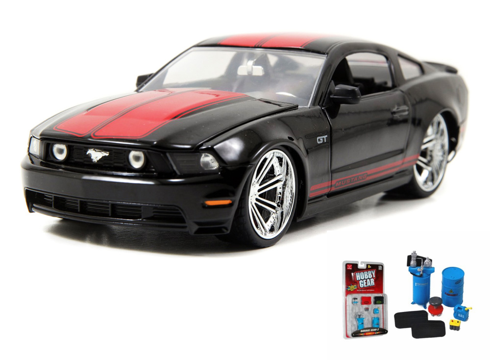 Diecast Car & Garage Diorama Package Ford Mustang GT, Black Jada Toys Bigtime Muscle 96868... by ModelToyCars