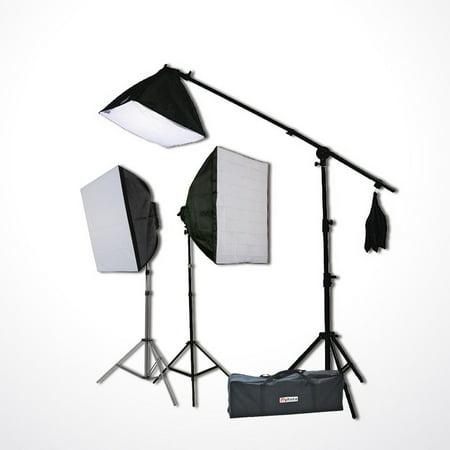 3800 Watt Digital Video Continuous Light 3 Softbox Boom Stand Hair Lighting