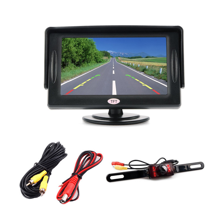 "4.3"" LCD Car Rear View Backup Monitor + Car Rear View Camera with RCA Video Cable"