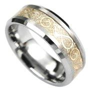 AAB Style RTS-44G Tungsten Ring with Elegant Gold Center Design