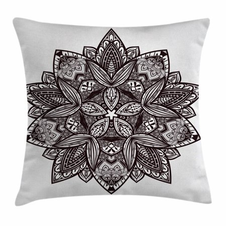 Lotus Throw Pillow Cushion Cover, Ethnic Paisley Mandala Indian Oriental Style Vintage Tattoo Artistic Pattern, Decorative Square Accent Pillow Case, 18 X 18 Inches, Seal Brown White, by Ambesonne