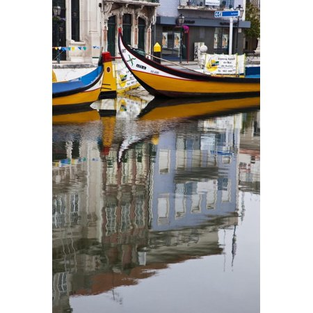 Moliceiro Boats by Art Nouveau Buildings Canal, Averio, Portugal Print Wall Art By Julie Eggers