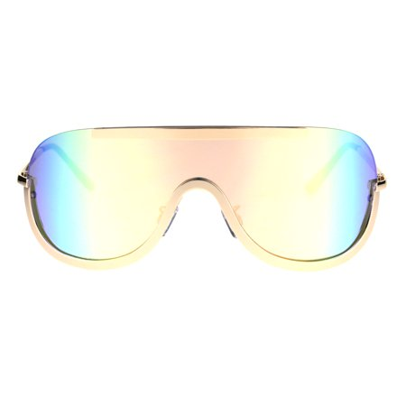 86720c8fb4 SA106 - Robotic Futuristic Shield Color Mirror Curved Aviator Sunglasses  Gold Rainbow Rusta - Walmart.com