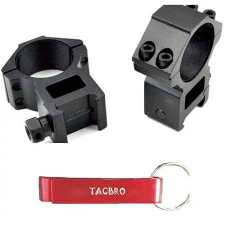 TACBRO 30mm Dia. High Profile Scope Rings For Picatinny/Weaver Rail System with One Free TACBRO Aluminum Opener(Randomly Selected