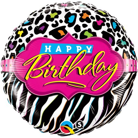 Qualatex Happy Birthday Teen Zebra Leopard 18