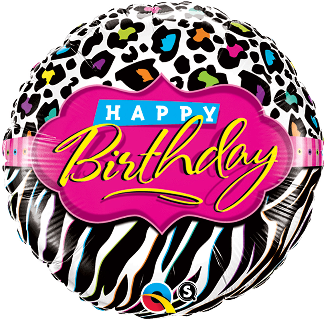 "Qualatex Happy Birthday Teen Zebra Leopard 18"" Foil Balloon, Pink Black White"