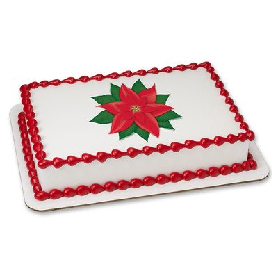 Poinsettia Christmas Edible Icing Image for 6 inch Round Cake ()