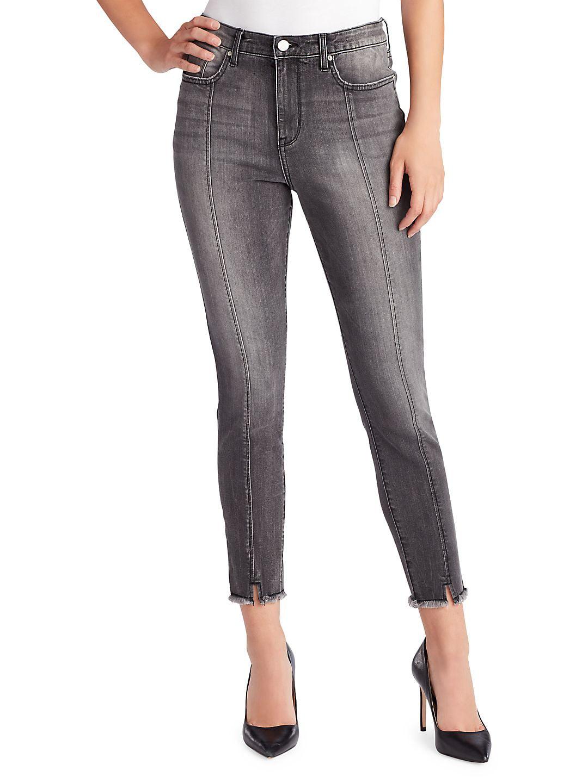 Sculpted Skinny High Rise Frayed Notch-Hem Jeans
