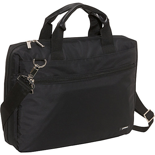 15.4 in. Zippered Top Opening Laptop Briefcase (Black)