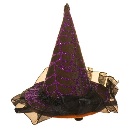 Halloween Costume Accessory- 4 Inch Witch Hat Hair Clip with Lace - Witch Hair
