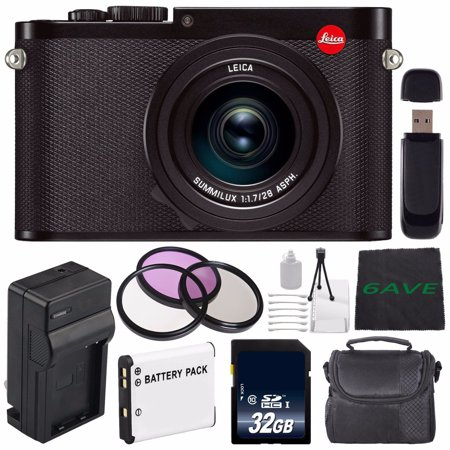 Leica Q (Typ 116) Digital Camera + Replacement Lithium Ion Battery + External Rapid Charger + 32GB SDHC Class 10 Memory Card + SD Card USB Reader + MicroFiber Cloth + 49mm 3 Piece Filter Kit