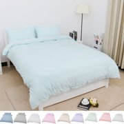 Solid Washed Cotton 3-Piece Duvet Cover Set Bedding Sets Single,Double,Queen,King Size