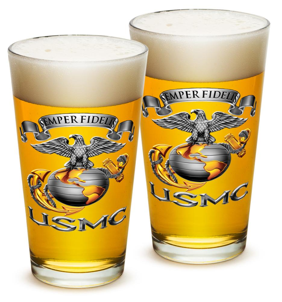 US Marines 16 oz. Pint Glass Usmc-Semper Fidelis (Set of 2)