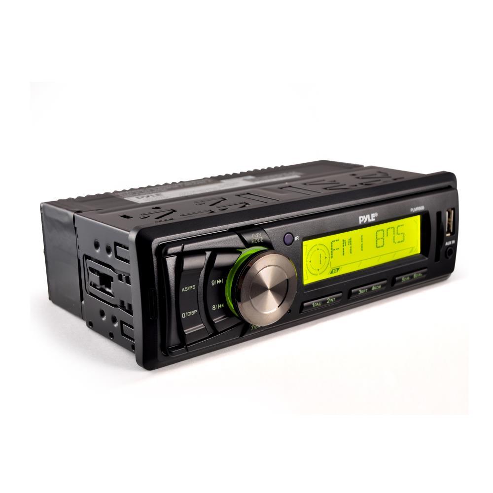 PYLE PLMR86B - Marine Stereo Headunit Receiver - 12v Single DIN Style Digital Boat In dash Radio System with MP3, USB, SD, AUX, RCA, AM FM Radio (Black)