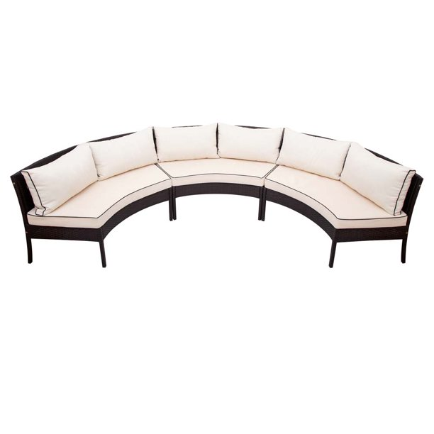 3 Piece Wicker Patio Furniture Set, Half Circle Patio Furniture