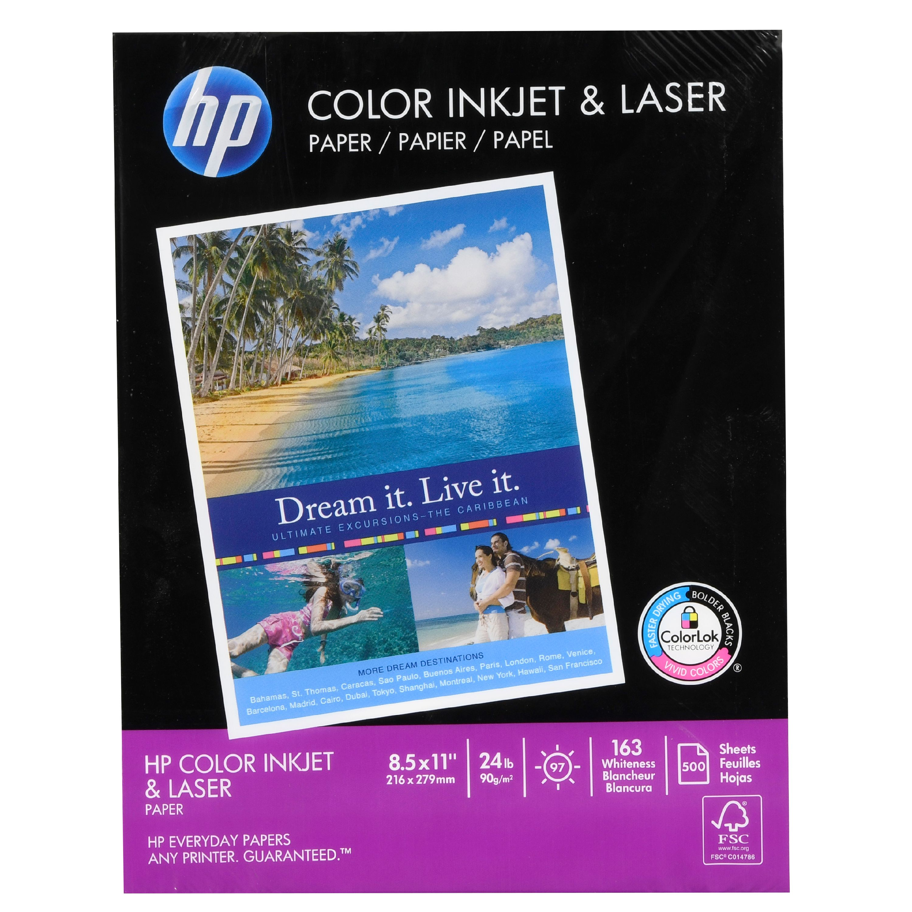 HP Color Inkjet Paper, 97 Brightness, 24lb, 8-1/2 x 11, White, 500 Sheets/Ream