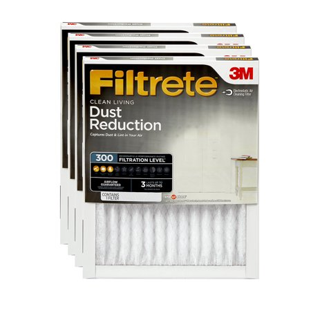 Furnace Cleaning Kit (Filtrete 14x14x1, Clean Living Dust Reduction HVAC Furnace Air Filter, 300 MPR, Pack of 4)