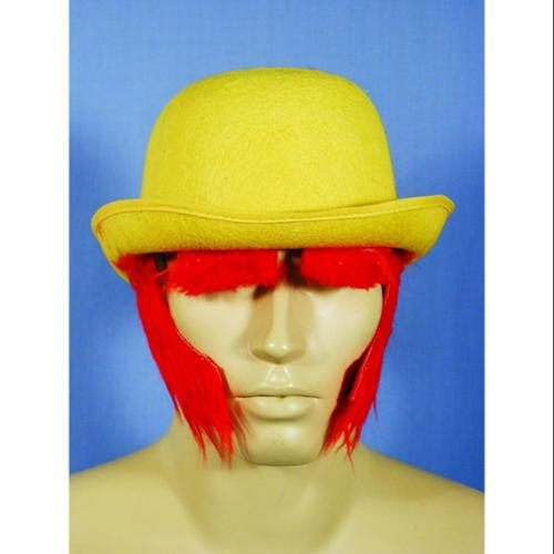 Yellow Clown Costume Derby Hat With Red Sideburns One Size