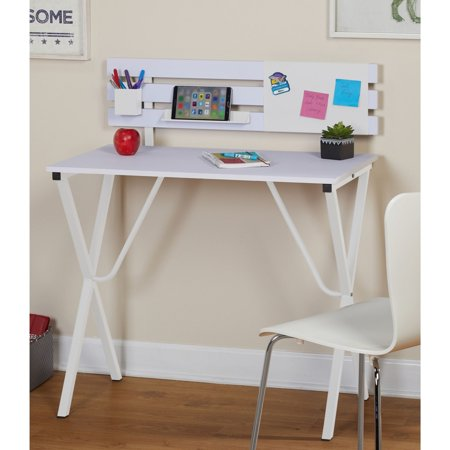 "GHP 40""x33.5""x20.5"" White MDF Metal Frame Computer Desk with Movable Backboard"