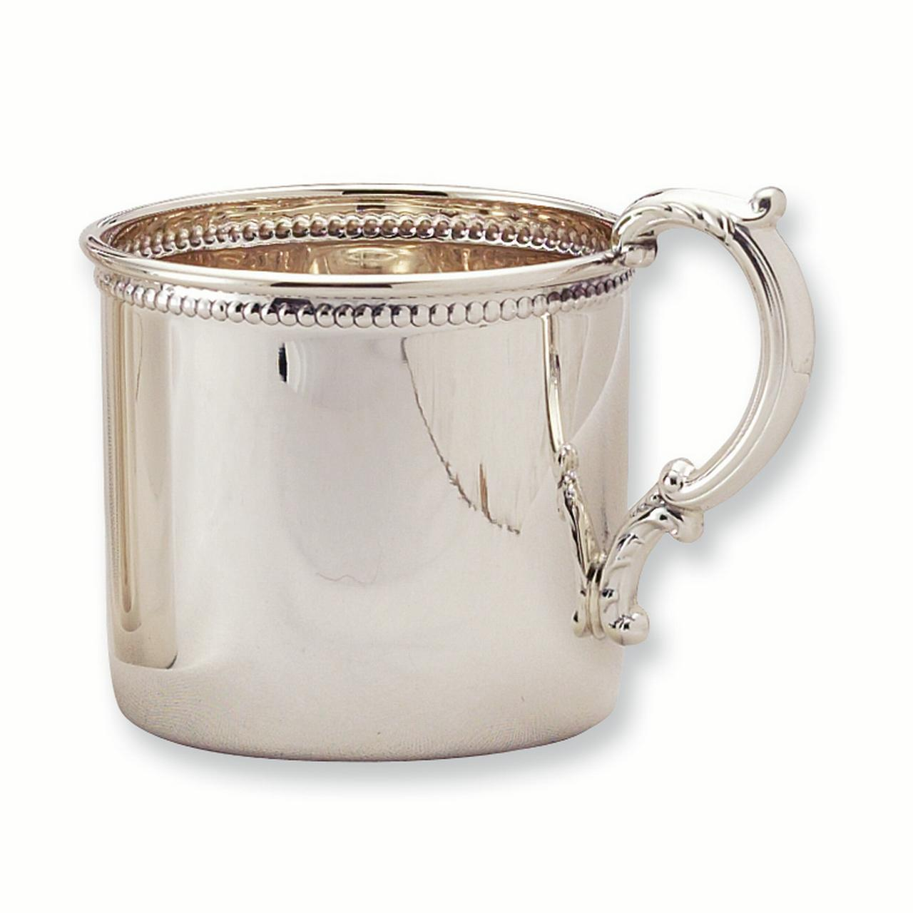 925 Sterling Silver Handle Beaded Edge Baby Cup Gifts For Women For Her