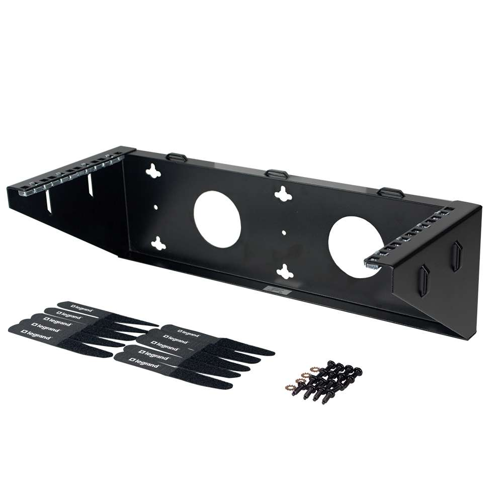 C2G (Cables To Go) - 14624 - C2G 3Ux19in Vertical Wall Mount Bracket - 200 lb Load Capacity - Black