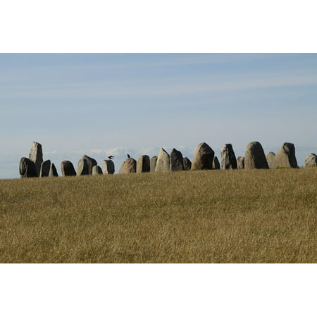 Canvas Print Stones Stone Ship Sacred Place Viking Stone Setting Stretched Canvas 10 x 14