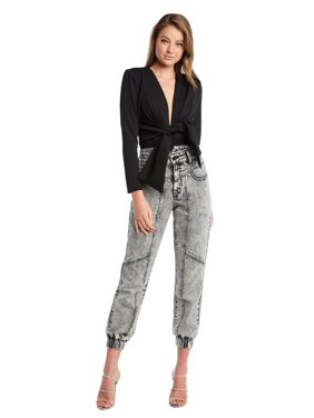 Women's Acid Wash Splice Denim