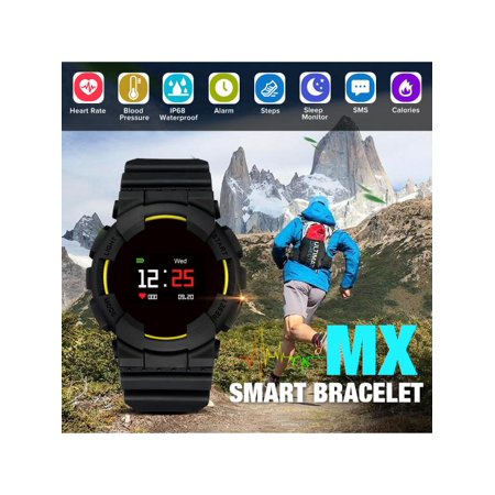 - Colored Screen MX Smart Bracelet Watch bluetooth 4.0 Waterproof Heart Rate Blood Pressure Monitor Fitness Tracker Sports Wrist Watch For Android IOS For Mens Boys Christmas Gifts