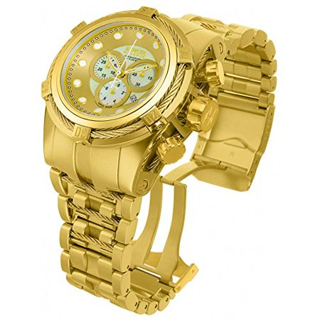 Men's Bolt Zeus Reserve Chrono 18K Gold Plated Ss White Mop Dial Movement: (Chrono Racer)