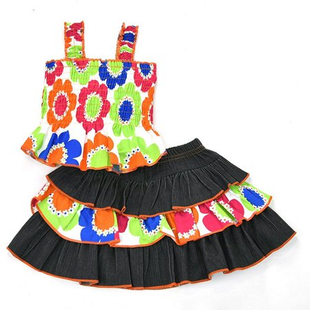 Lele For Kids Little Girls Multi Flower Print Tiered 2 Pc Skirt Outfit](Halo Outfit For Sale)