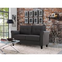 Lifestyle Solutions Hollie Loveseat Upholstered Microfiber Rolled Arms, Heather Grey