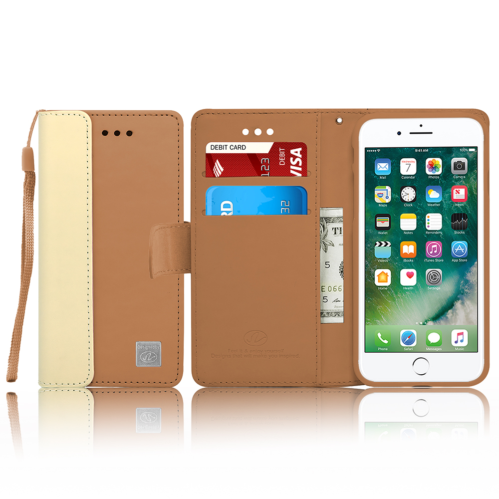 For IPhone 8 / IPhone 7 Luxury PU Leather Flip Wallet Case Cover with Card Slots