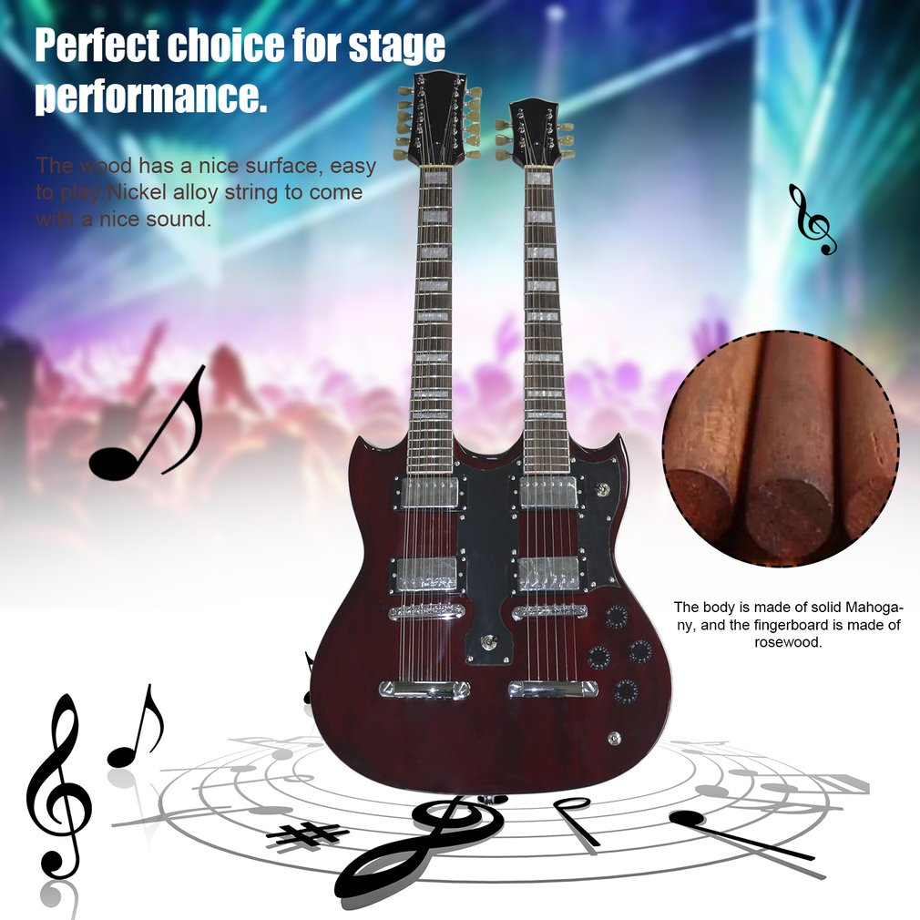 TSAI SY-NE-005 12 Strings Double Necks Electric Guitar with Double Coil Pickup Guitar by