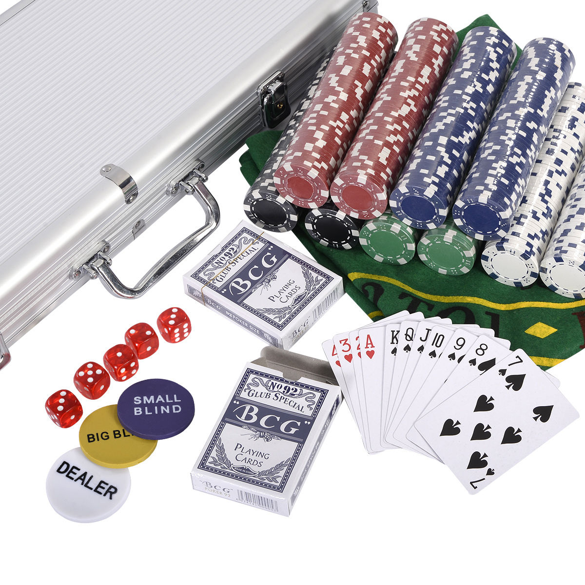 Costway New 500 Chips Poker Dice Chip Set Texas Hold\'em Cards W ...