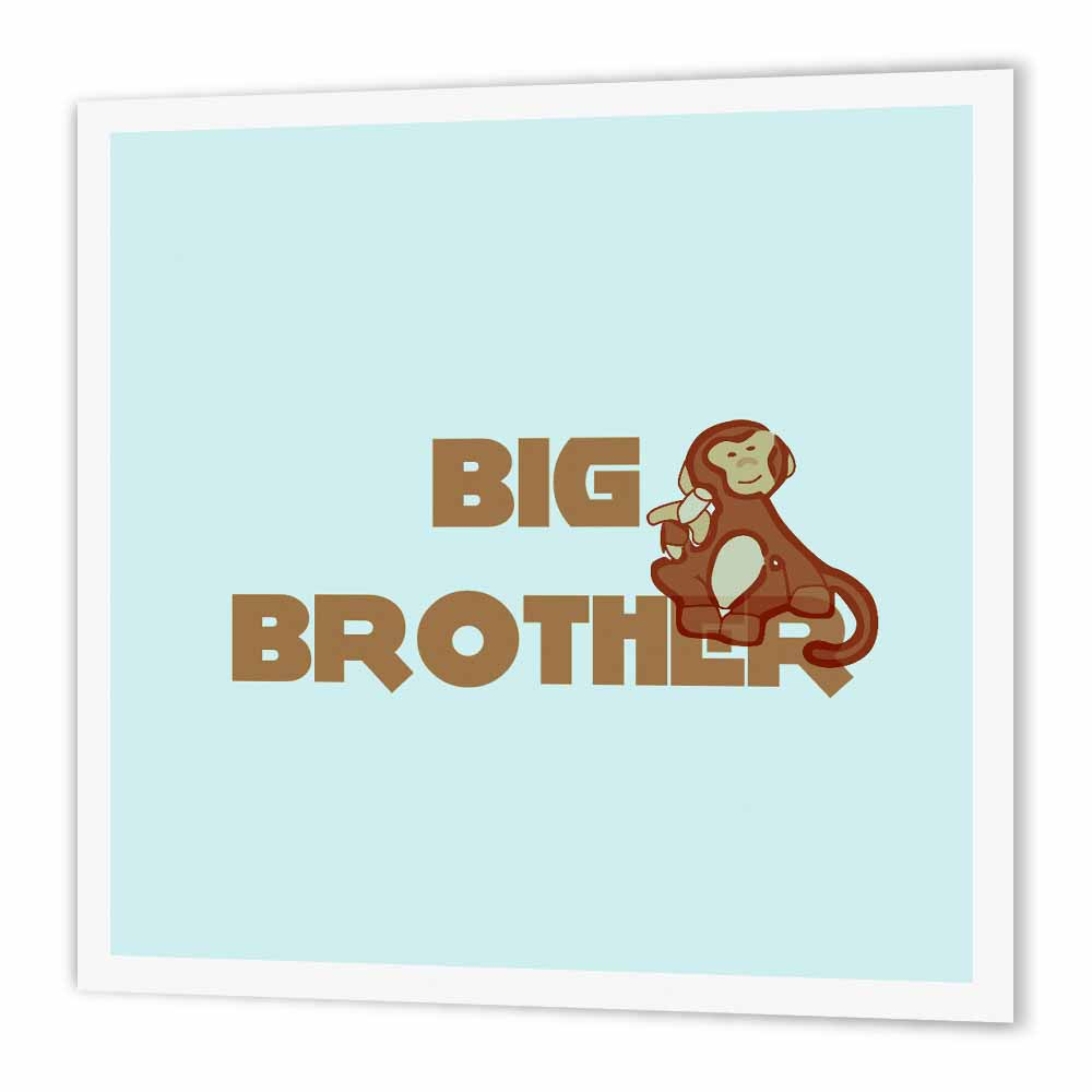 3dRose Little Monkey Big Brother Art - Kids and Families, Iron On Heat Transfer, 8 by 8-inch, For White Material